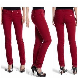 WHBM mod slim blanc cardinal red jeans